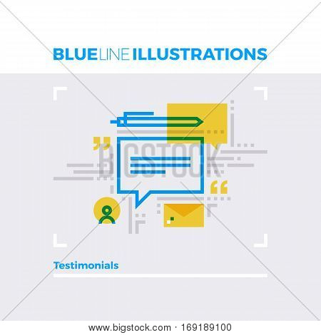 Testimonials Blue Line Illustration.