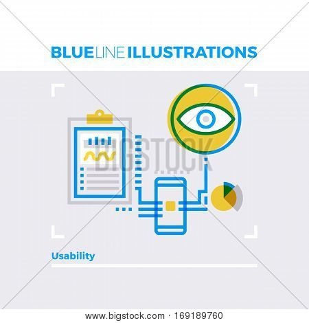 Usability Blue Line Illustration.