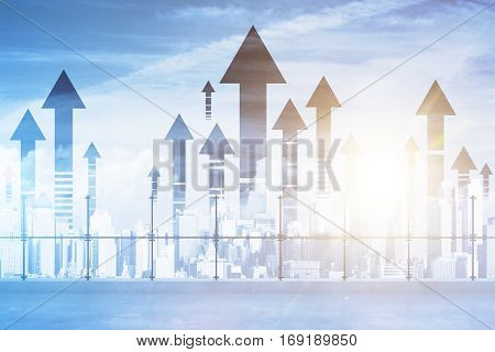 Rooftop with upward arrows on city background. Double exposure. Success concept