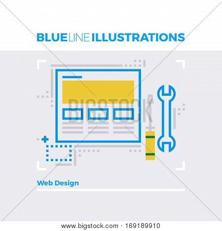 Web Design Blue Line Illustration