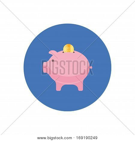 Money box icon in flat style isolated in a circle. Money box symbol for your design and logo. Vector illustration EPS 10.