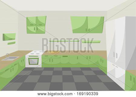 Kitchen room inside cabinets modern interior floor green furniture stove sink lockers empty clean good cartoon design. Vector close-up beautiful horizontal illustration background color illustration