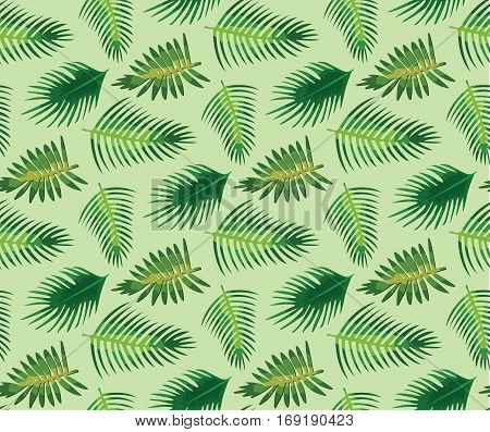 Palm tree different set leaf leaves seamless pattern background texture backdrop fabric. Vector close-up beautiful horizontal tropical hawaiian tracery design textile paper green fresh illustration