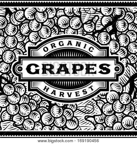 Retro Grapes Harvest Label Black And White. Editable vector illustration in woodcut style with clipping mask.