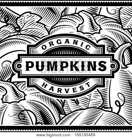 Retro Pumpkin Harvest Label Black And White. Editable vector illustration in woodcut style with clipping mask.