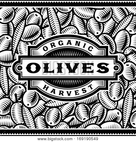 Retro Olive Harvest Label Black And White. Editable vector illustration in woodcut style with clipping mask.