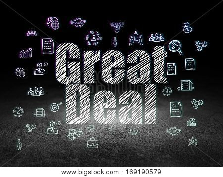 Business concept: Glowing text Great Deal,  Hand Drawn Business Icons in grunge dark room with Dirty Floor, black background