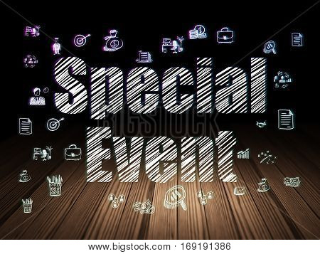 Business concept: Glowing text Special Event,  Hand Drawn Business Icons in grunge dark room with Wooden Floor, black background