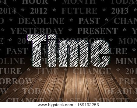 Timeline concept: Glowing text Time in grunge dark room with Wooden Floor, black background with  Tag Cloud