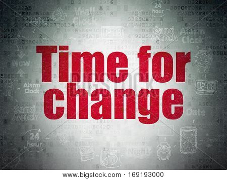 Time concept: Painted red text Time for Change on Digital Data Paper background with  Scheme Of Hand Drawing Time Icons