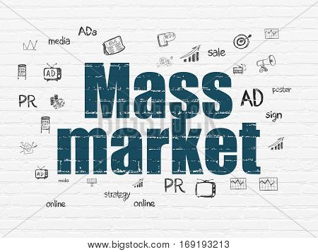 Advertising concept: Painted blue text Mass Market on White Brick wall background with  Hand Drawn Marketing Icons