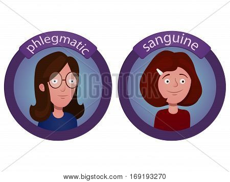 Character with a different temperament. Cartoon vector illustration