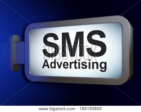 Marketing concept: SMS Advertising on advertising billboard background, 3D rendering