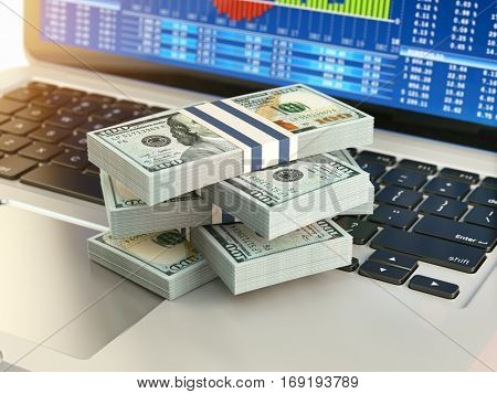 Stock market online business concept. Pack of dollar on laptop keyboard with stock market char on the screen. 3d illustration