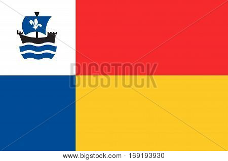 Flag of Almere is a planned city and municipality in the province of Flevoland Netherlands bordering Lelystad and Zeewolde. Vector illustration