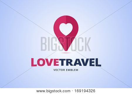 Travel logo with map pointer sign and heart. Vector illustration in flat style.