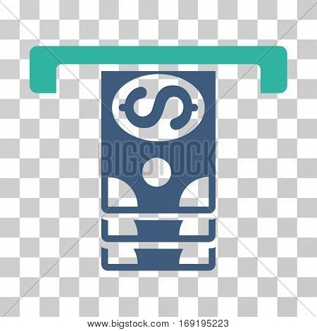Banknotes Withdraw icon. Vector illustration style is flat iconic bicolor symbol cobalt and cyan colors transparent background. Designed for web and software interfaces.
