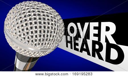 Overheard Buzz News Rumor Gossip Microphone 3d Illustration