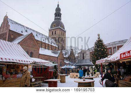 Riga, Latvia - January 5, 2015: Christmas market on the main square in Riga