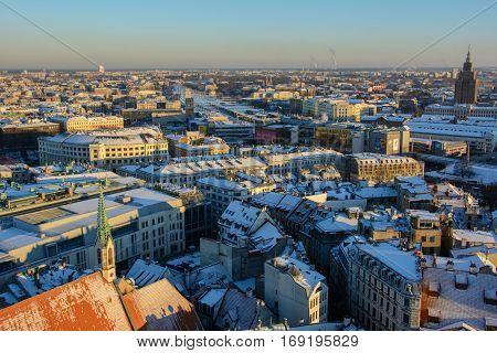 Riga, Latvia - January 5, 2015: Winter panorama of Riga from the observation deck