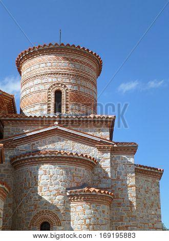 Saint Clement Church, an impressive stone church against vibrant blue sky, Ohrid of Macedonia