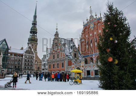 Riga, Latvia - January 5, 2015: House of the Blackheads in the winter - a monument of architecture of the XIV century, one of the main attractions of Riga.