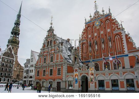 House of the Blackheads in the winter, Riga, Latvia