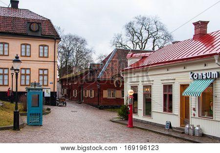 Stockholm, Sweden - December 24, 2013: Old street of the village in the park Skansen