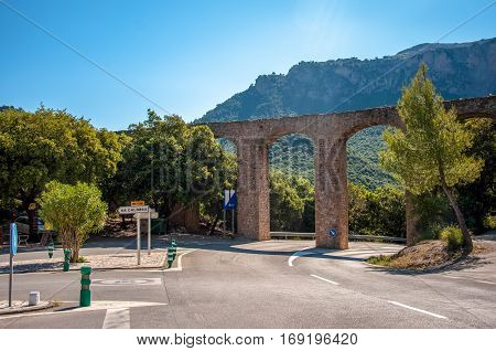 Aqueduct over the road in the mountains of Mallorca, Spain
