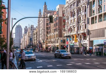 Madrid, Spain - June 4, 2013: A view of the main street Gran Via of Madrid