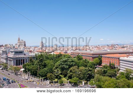 Madrid, Spain - June 4, 2013: Panoramic view from a viewing point of Madrid Cibeles Palace