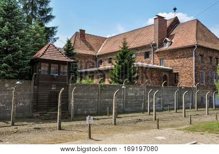Building leadership concentration camp Auschwitz in Poland