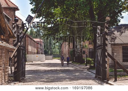 Auschwitz, Poland - June 20, 2012: Inscription above the the main gate of the Auschwitz concentration camp in Poland
