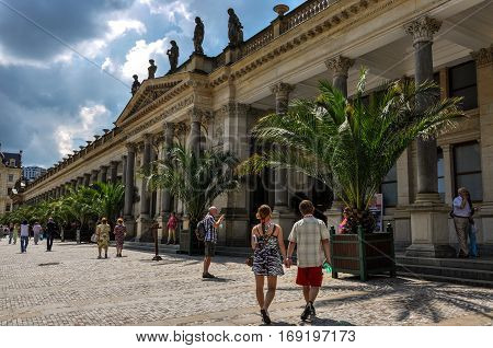 Karlovy Vary, Czech Republic - June 20, 2012 - The building of the hot springs of mineral water in Karlovy Vary