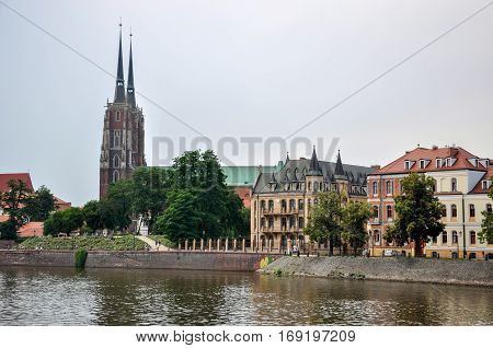 Cathedral on the island Tumski, Wroclaw, Poland