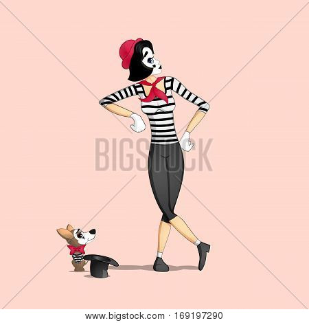 A girl mime performing a pantomime called leaning on something invisible and dog with hat