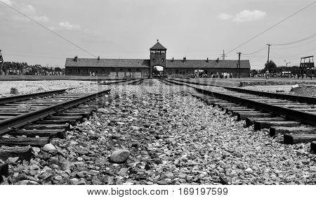 Main gates of the concentration camp Auschwitz-Birkenau, Poland