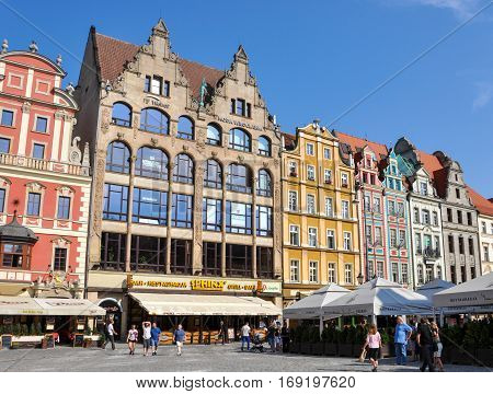 Wroclaw, Poland - June 25, 2012: Historic houses at the market square in Wroclaw