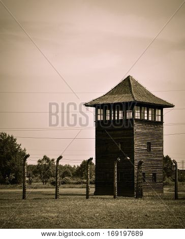 Lookout tower at Auschwitz-Birkenau concentration camp, Poland
