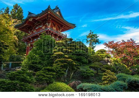 Traditional Japanese house Minka, a Japanese garden San Francisco, California USA