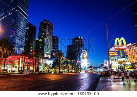Las Vegas, Nevada, USA - June 27, 2014: Las Vegas Strip, the main street of the city of Las Vegas