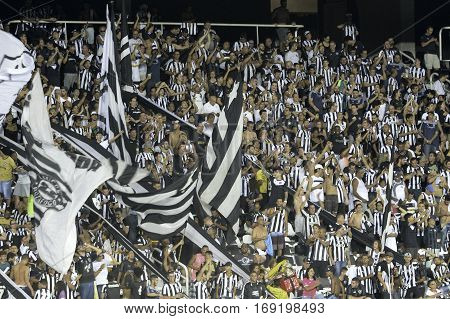 Rio Brazil - february 01 2017: Fans Botafogo (BRA) vs Colo Colo (CHI) in the Copa Libertadores of America match at the Nilton Santos Stadium (Engenhao)