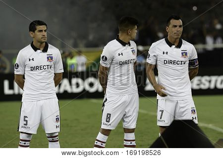 Rio Brazil - february 01 2017: Julio Barroso Esteban Pavez and Esteban Paredes Botafogo (BRA) vs Colo Colo (CHI) in the Copa Libertadores of America match at the Nilton Santos Stadium (Engenhao)