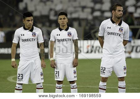 Rio Brazil - february 01 2017: Claudio Baeza Brayan Vejar and Octavio Riveros Botafogo (BRA) vs Colo Colo (CHI) in the Copa Libertadores of America match at the Nilton Santos Stadium (Engenhao)