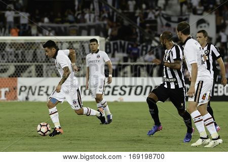 Rio Brazil - february 01 2017: Claudio Baeza during Botafogo (BRA) vs Colo Colo (CHI) in the Copa Libertadores of America match at the Nilton Santos Stadium (Engenhao)
