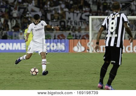 Rio Brazil - february 01 2017: Esteban Pavez during Botafogo (BRA) vs Colo Colo (CHI) in the Copa Libertadores of America match at the Nilton Santos Stadium (Engenhao)