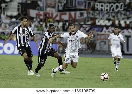 Rio Brazil - february 01 2017: Octavio Riveros during Botafogo (BRA) vs Colo Colo (CHI) in the Copa Libertadores of America match at the Nilton Santos Stadium (Engenhao)