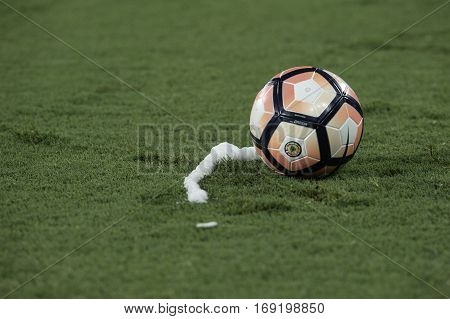Rio Brazil - february 01 2017: Ball during Botafogo (BRA) vs Colo Colo (CHI) in the Copa Libertadores of America match at the Nilton Santos Stadium (Engenhao)