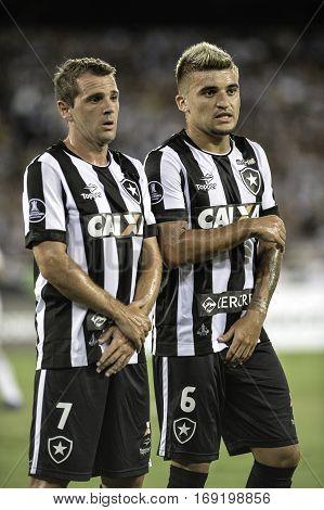 Rio Brazil - february 01 2017: Montillo and Victor Luis during Botafogo (BRA) vs Colo Colo (CHI) in the Copa Libertadores of America match at the Nilton Santos Stadium (Engenhao)