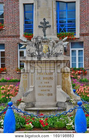Fontaine le Bourg France - june 23 2016 : the war memorial
